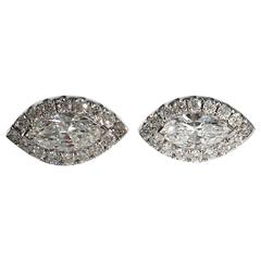 Jona White Diamond 18 Karat White Gold Navette Earrings