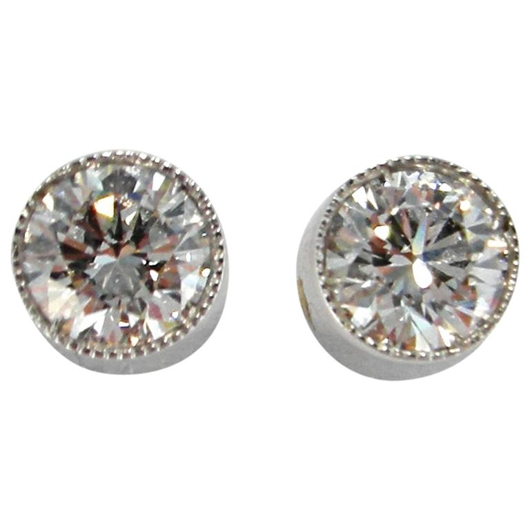Jona Diamond Single Stone White Gold Stud Earrings 1