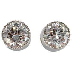 Jona White Diamond Single Stone 18k White Gold Stud Earrings