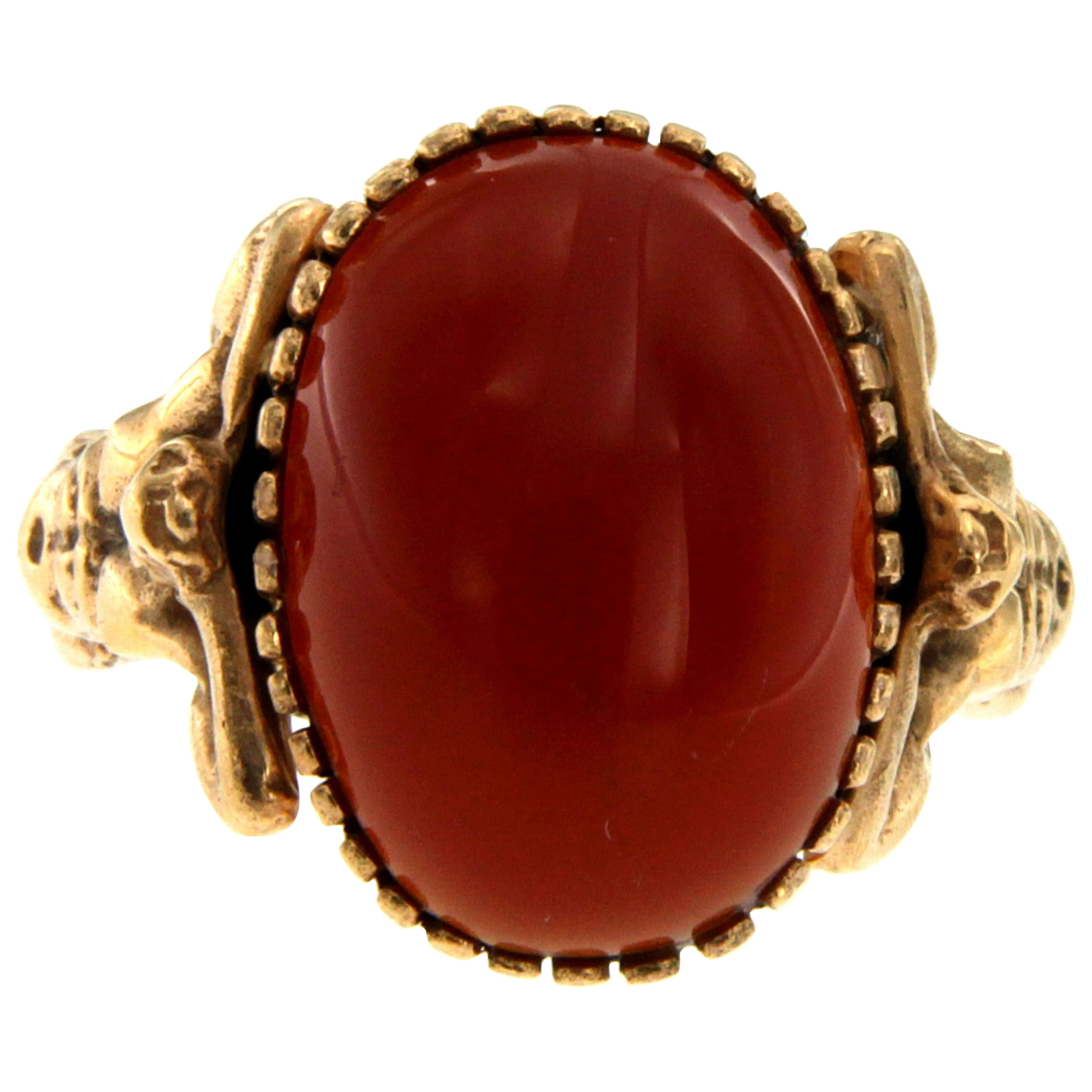 Carnelian Gold Sculptural Body Dome Unisex Ring