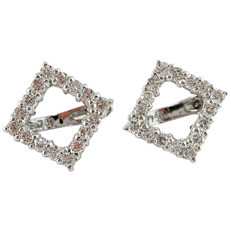 Jona Diamond Gold Open Square Earrings For Sale