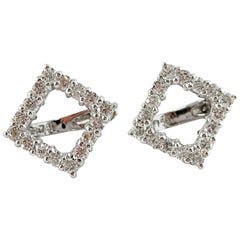 Jona White Diamond 18 Karat White Gold Open Square Earrings