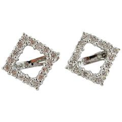 Jona White Diamond 18k White Gold Open Square Earrings