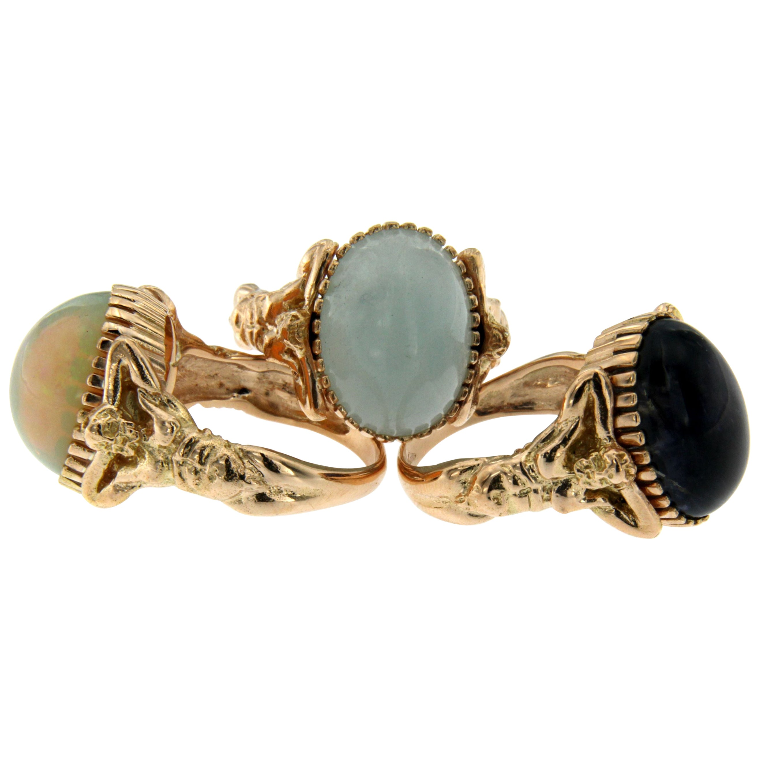 Opal Gold Sculptural Body Dome Unisex Ring
