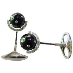 Eli Frei Onyx Diamond Gold Moveable Spinning Globe on Axis Motif Cufflinks