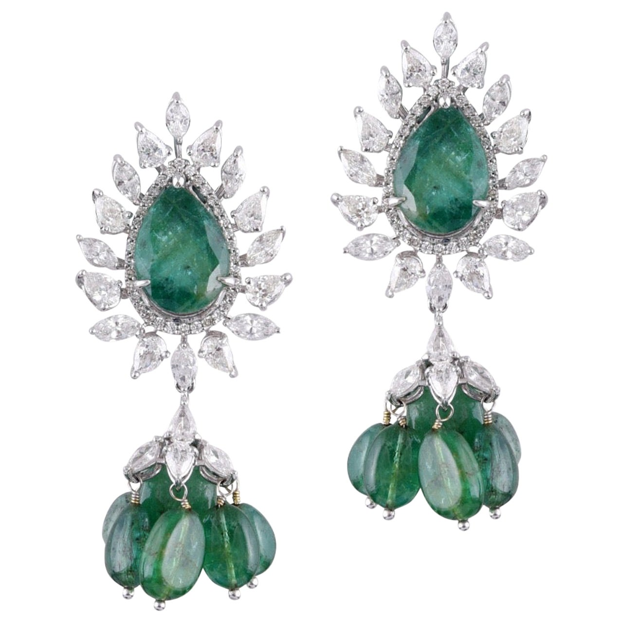 18 Karat White Gold Zambian Emerald White Diamond Stud Earrings