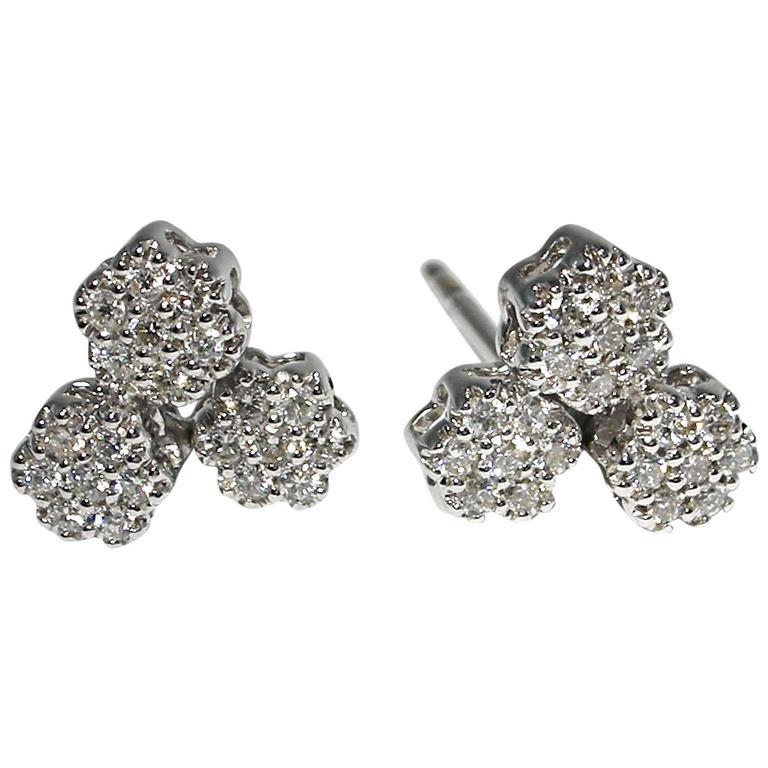 Jona Diamond Gold Flower Stud Earrings For Sale