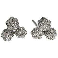 Jona Diamond Gold Flower Stud Earrings