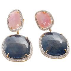Stunning Diamond Pink and Blue Sapphire Earrings