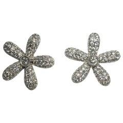 Jona White Diamond 18 Karat White Gold Daisy Earrings