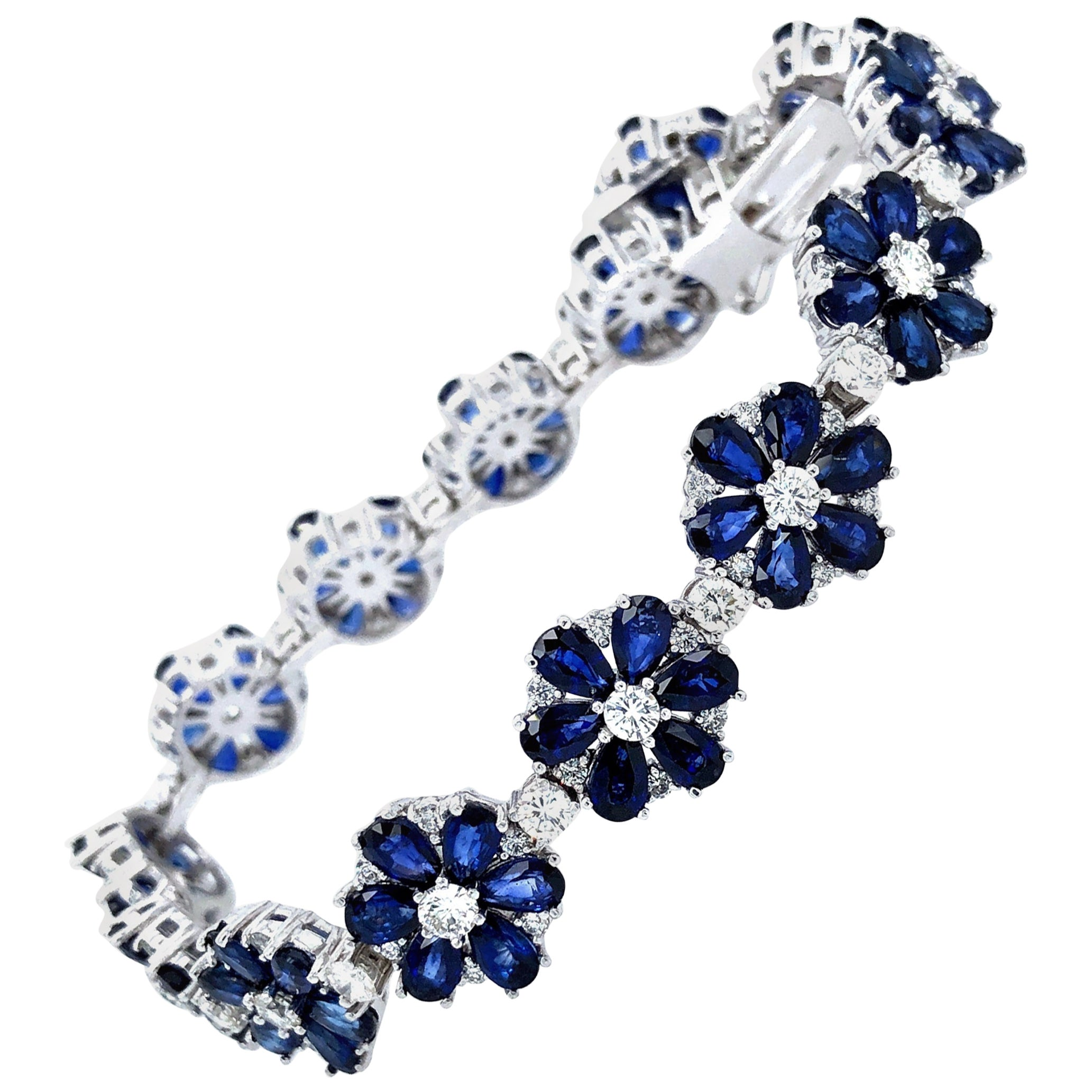 Flower Motif Sapphire and Diamonds Platinum Bracelet