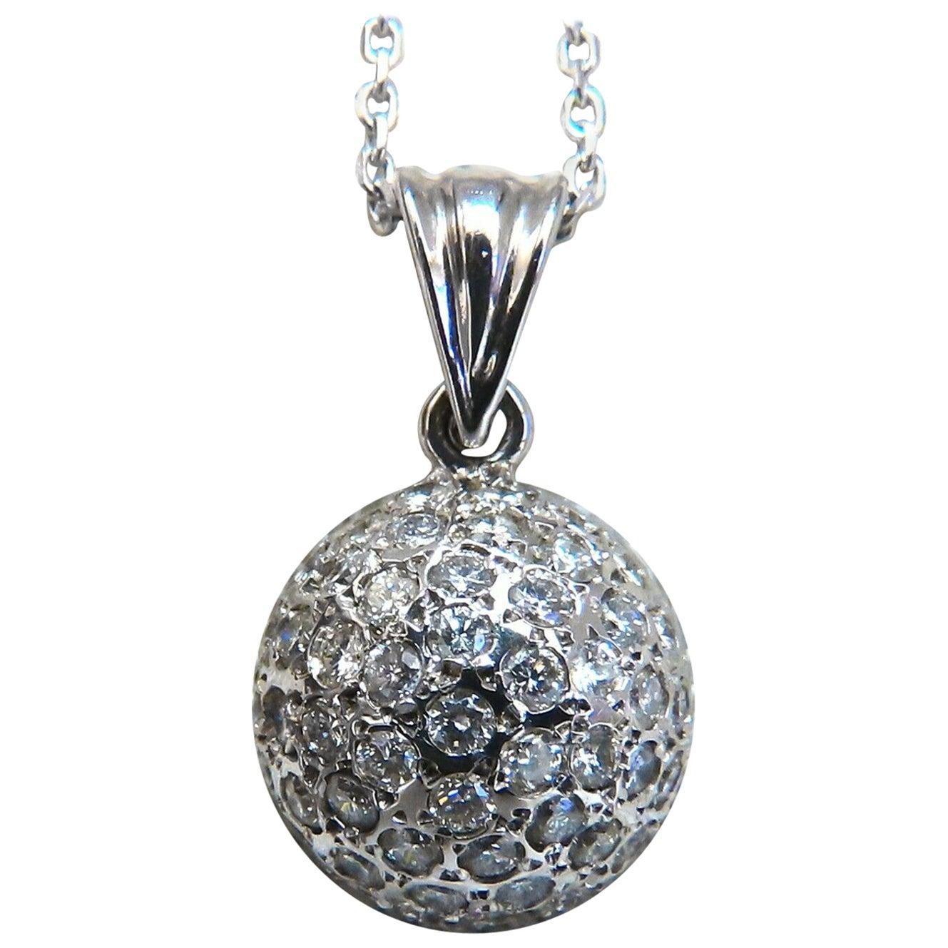1.04 Carat Natural Diamonds Cluster Dome Ball Necklace 14 Karat