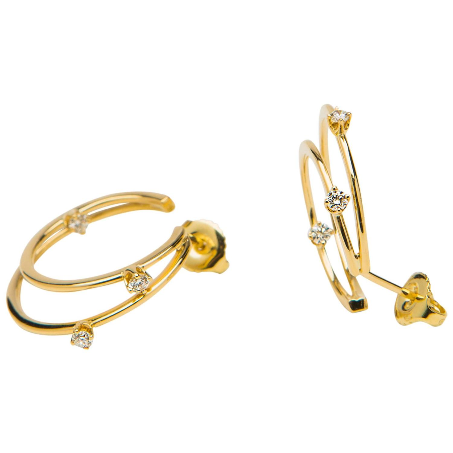 chic tiffany and co gold and diamond hoop earrings at 1stdibs