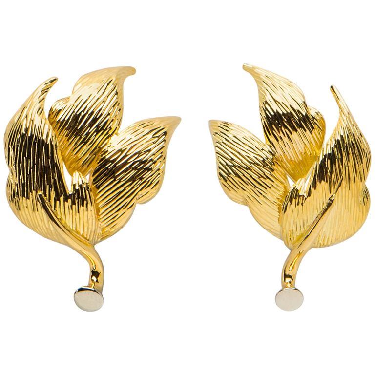 Tiffany & Co. Elegant Gold Triple Petal Earrings