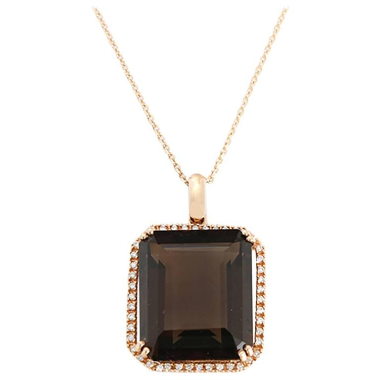 Stunning Emerald Cut Smoky Quartz, Diamond, and Rose Gold Pendant Necklace