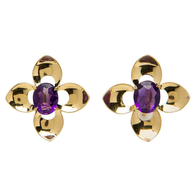Tiffany Co Retro Amethyst Gold Earrings For