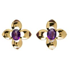 Tiffany & Co. Retro Amethyst Gold Earrings