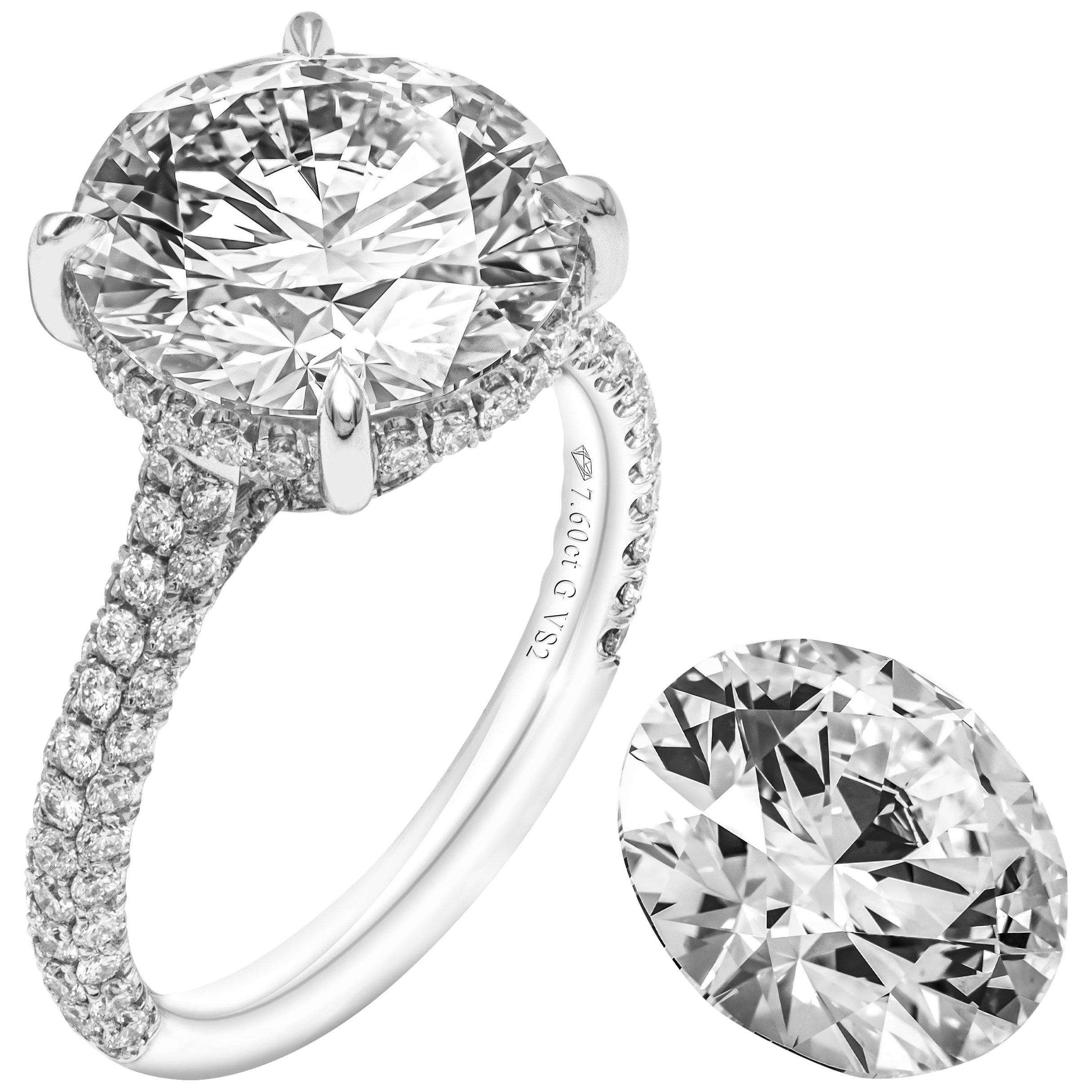 GIA Certified 7.60 Carat Round Diamond Engagement Ring