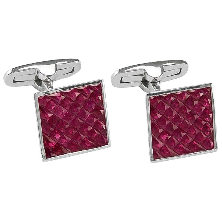 Platinum 4.34 Carat Ruby Cufflinks