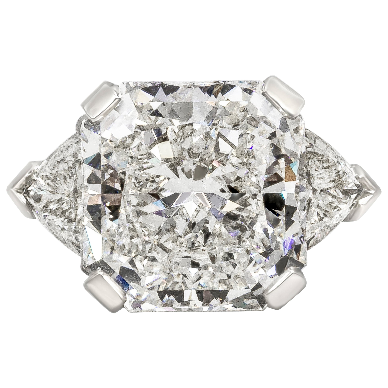 GIA Certified 10 Carat Radiant Cut Diamond Three-Stone Engagement Ring