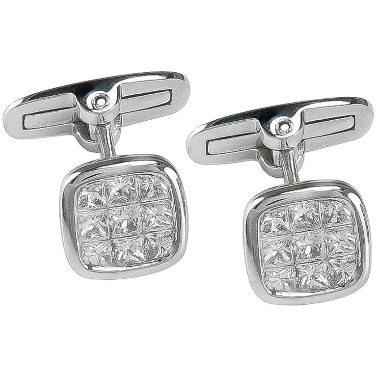 Platinum 1.88 Carat All Diamond Set Cufflinks
