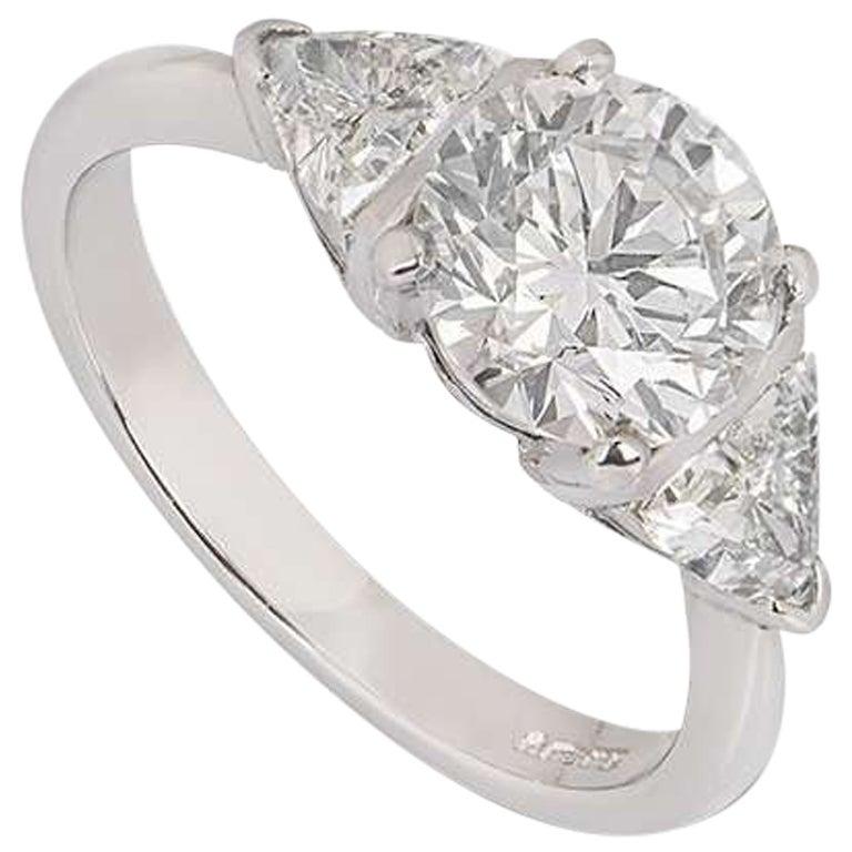 GIA Certified Platinum Round Brilliant Cut Diamond Engagement Ring 2.08 Carat