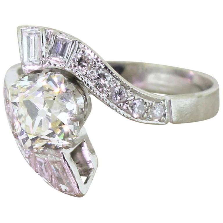 Art Deco 1 89 Carat Old Cushion Cut Diamond Gold Crossover Engagement Ring at