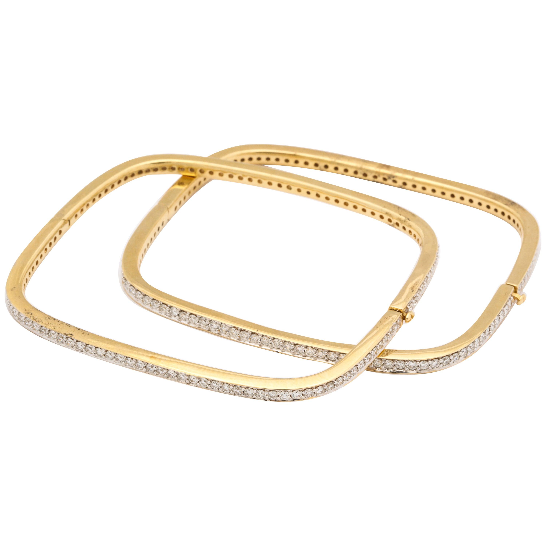 Pair of Square-Shape Diamond Bangle Bracelets