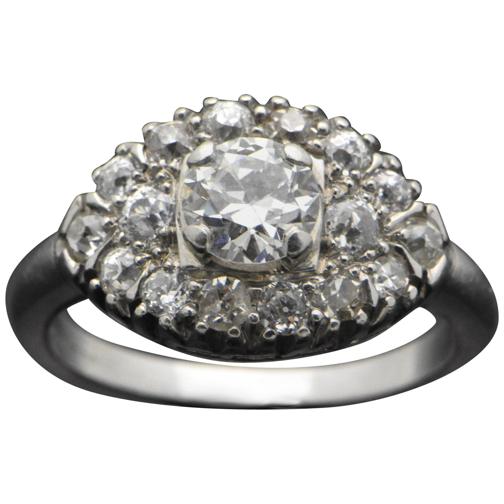 Vintage Platinum Ring with Diamonds