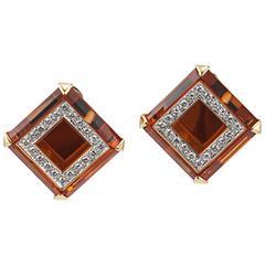 Legnazzi Citrine diamond gold Earrings