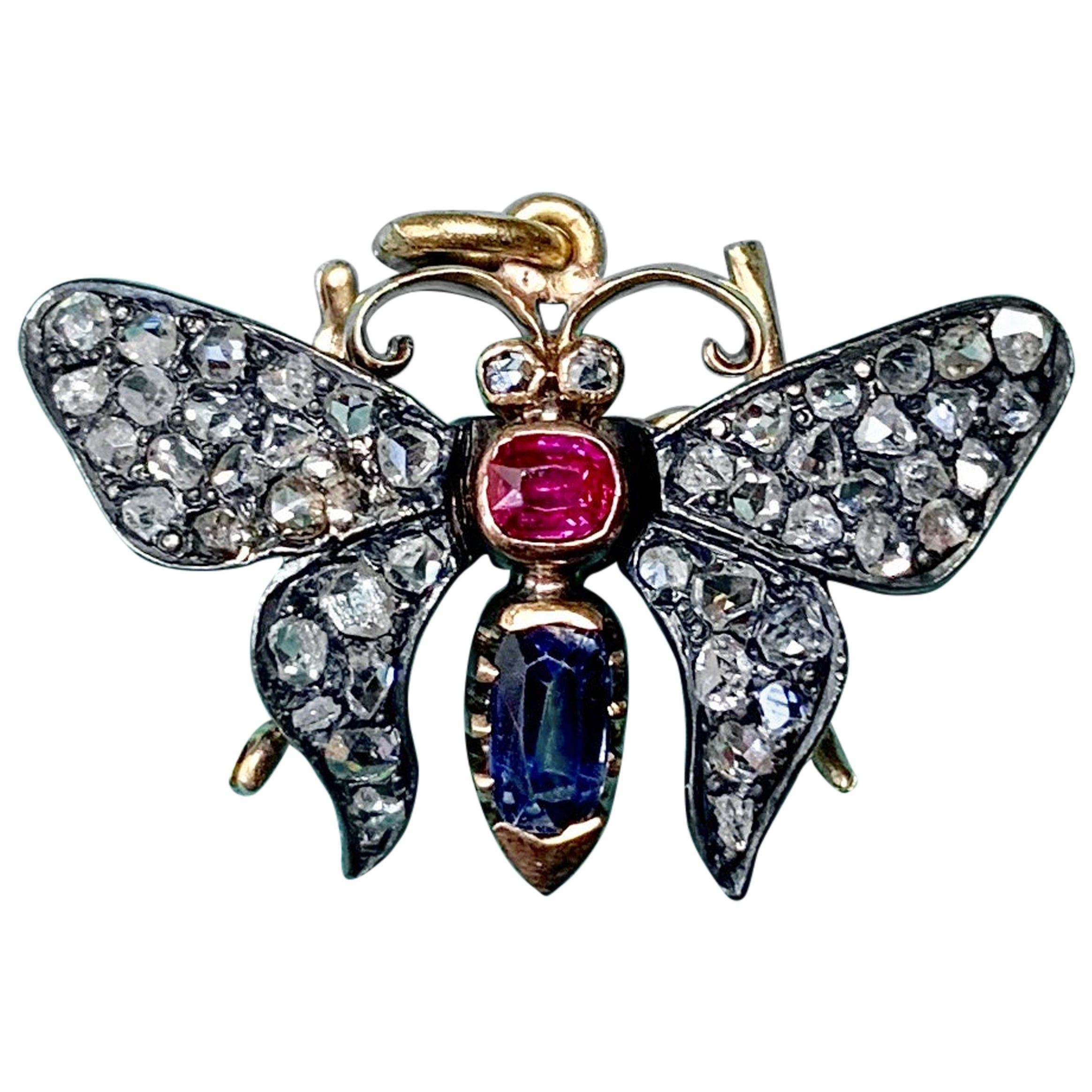 Antique Butterfly Rose Cut Diamond Sapphire Ruby Pendant Necklace Victorian