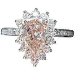 GIA Certified 2.22 Carat Fancy Light Brownish Pink Pear Diamond Ring