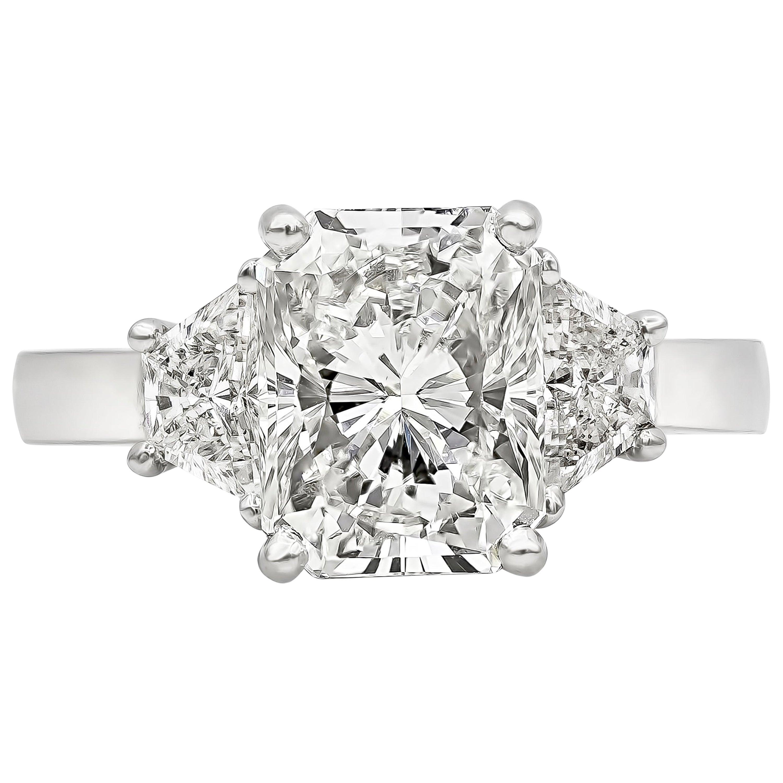 GIA Certified 3.00 Carat Radiant Cut Diamond Three-Stone Engagement Ring