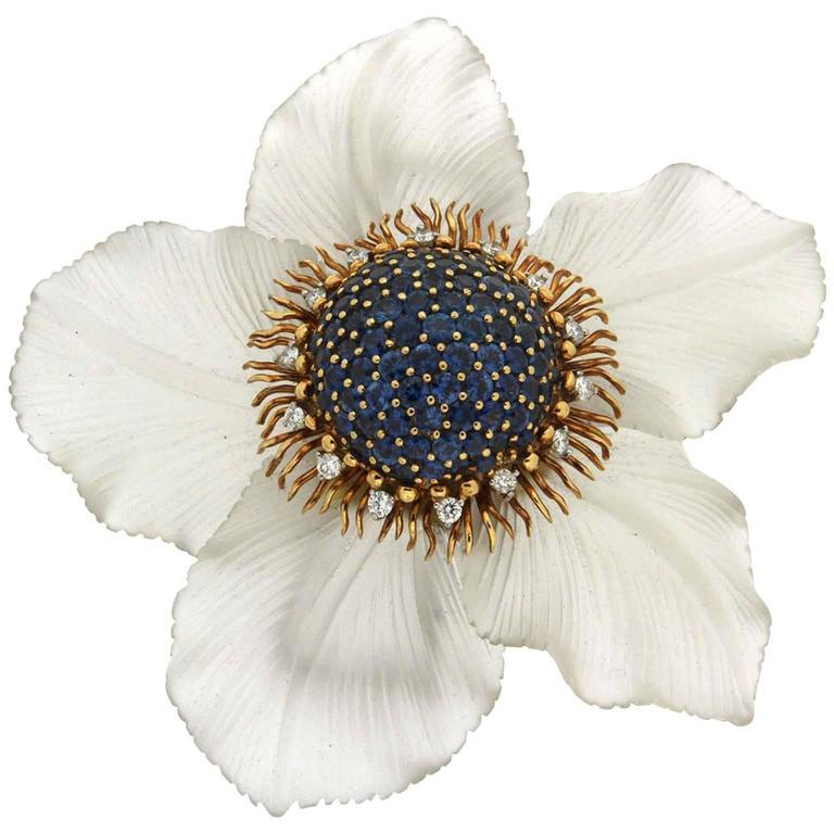 Sapphire Crystal Diamond Gold Morning Glory Daisy Brooch