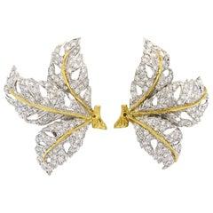 Buccellati Diamond Gold Large Leaf Earrings