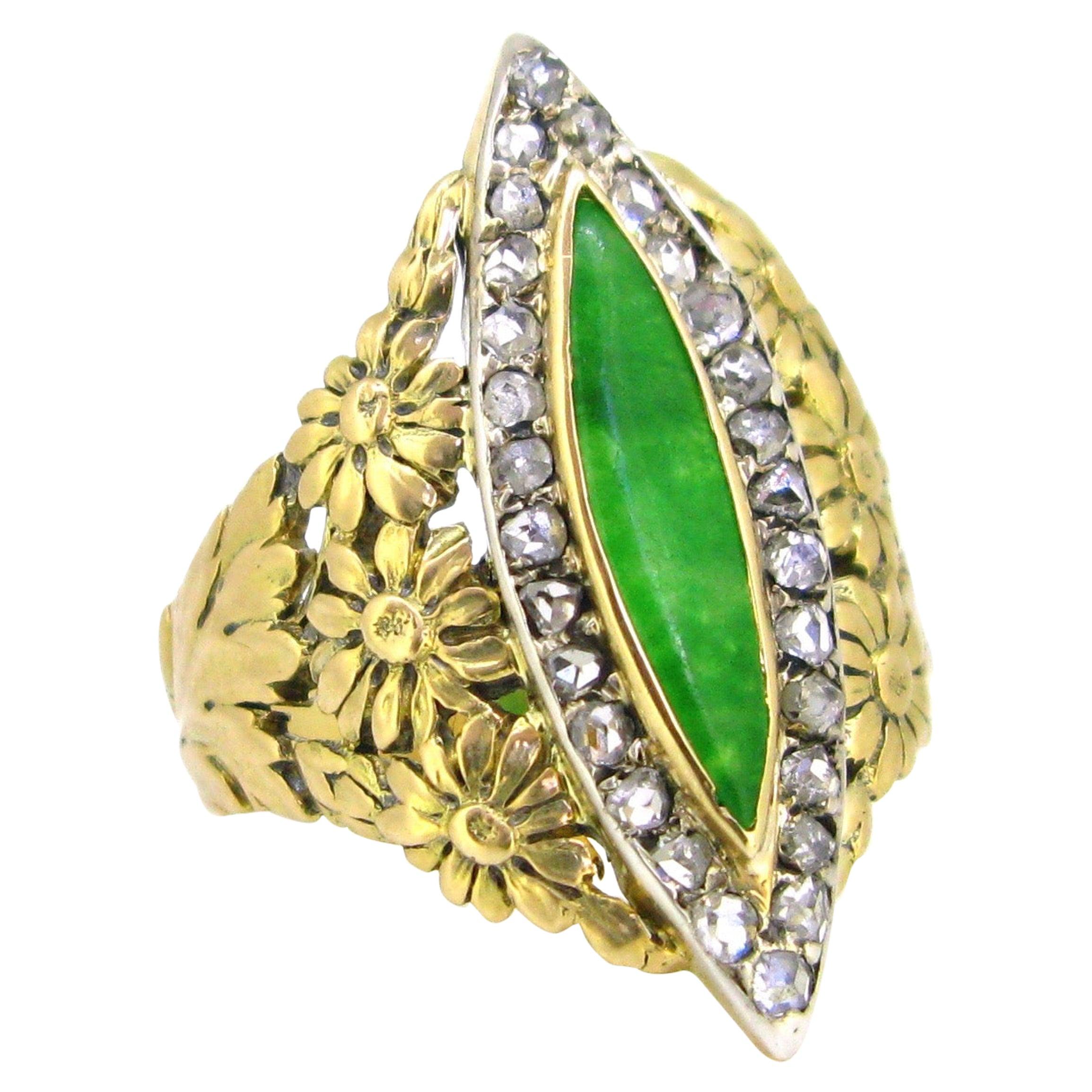 Art Nouveau Jadeite Jade Diamonds Yellow Gold Platinum Marquise Ring