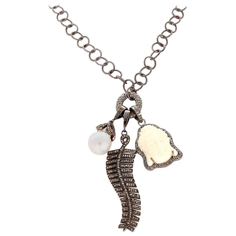 Diamond Oxen Bone sterling Silver Buddha Necklace For Sale