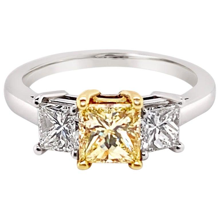 GIA Certified Fancy Light Yellow Diamond Ring in Platinum