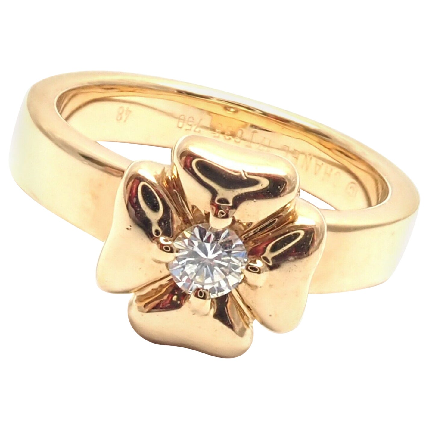 Chanel Diamond Four Leaf Clover Yellow Gold Band Ring