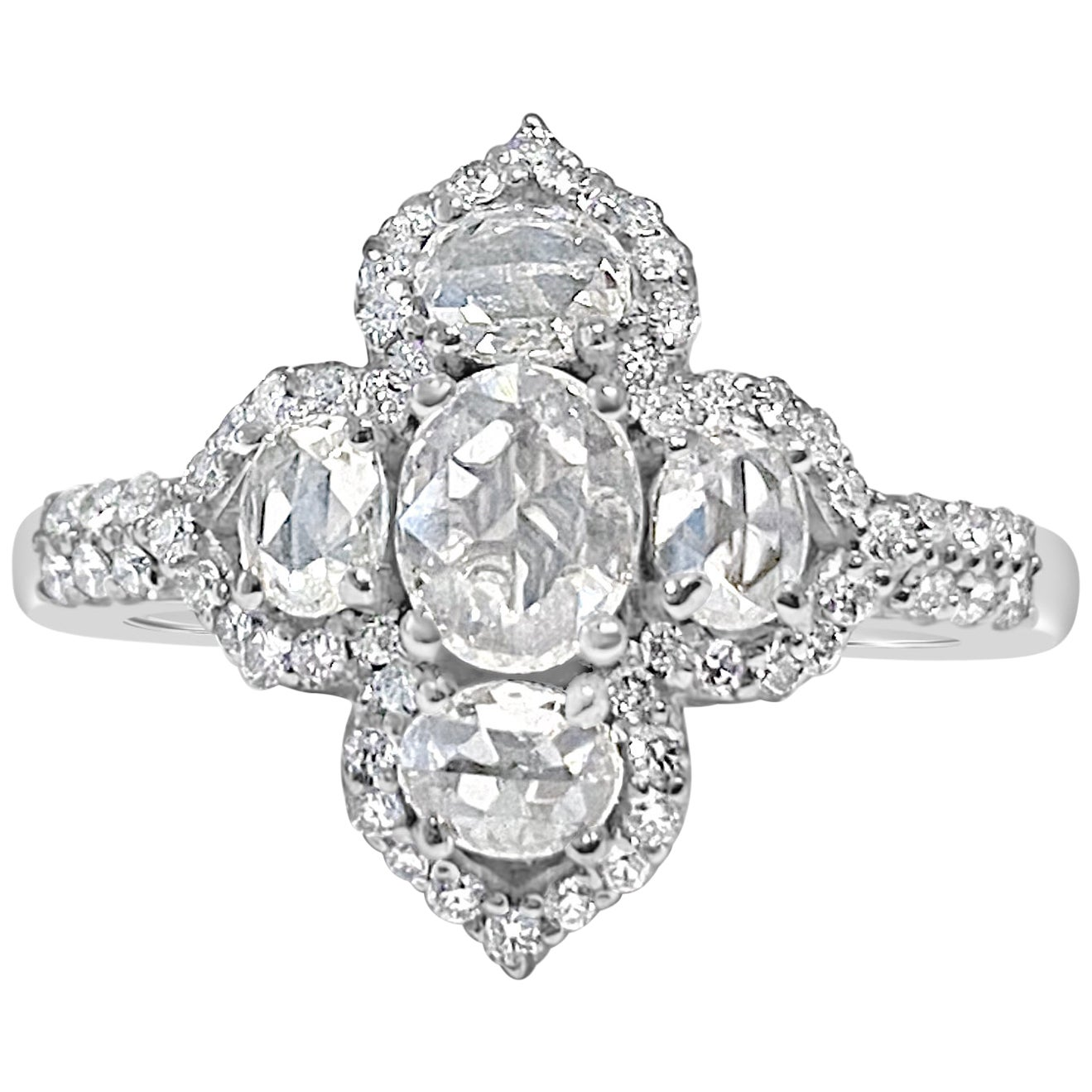 Oval Rose Cut Diamond and Round Brilliant Diamond Ring