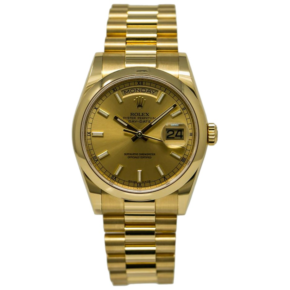 Rolex Day-Date 118208, Gold Dial, Certified and Warranty