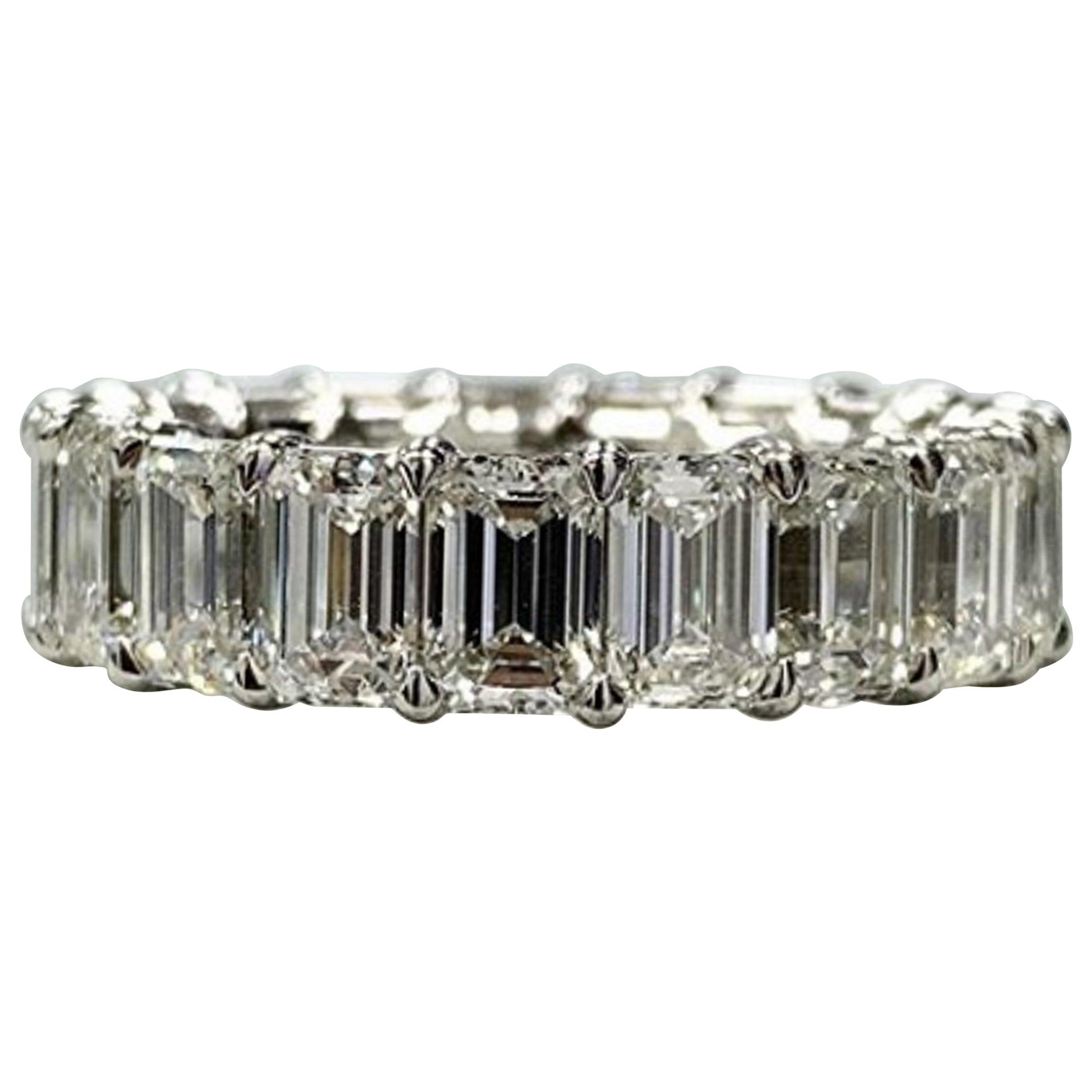 5 Carat Natural Untreated Eternity Band Emerald Cut Diamond Ring