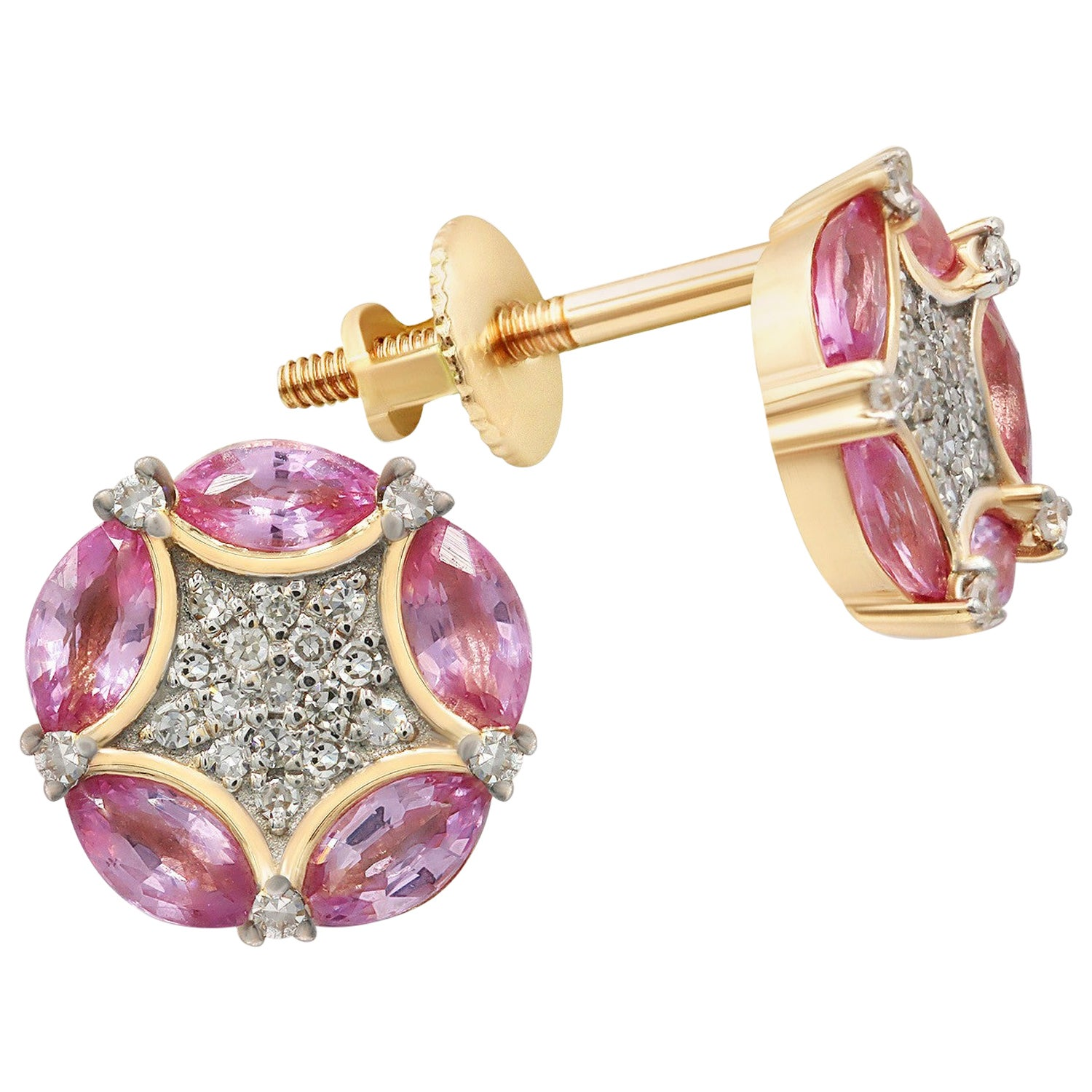 Rococo Style Pink Sapphire White Diamond Pink Gold Every Day Stud Earrings