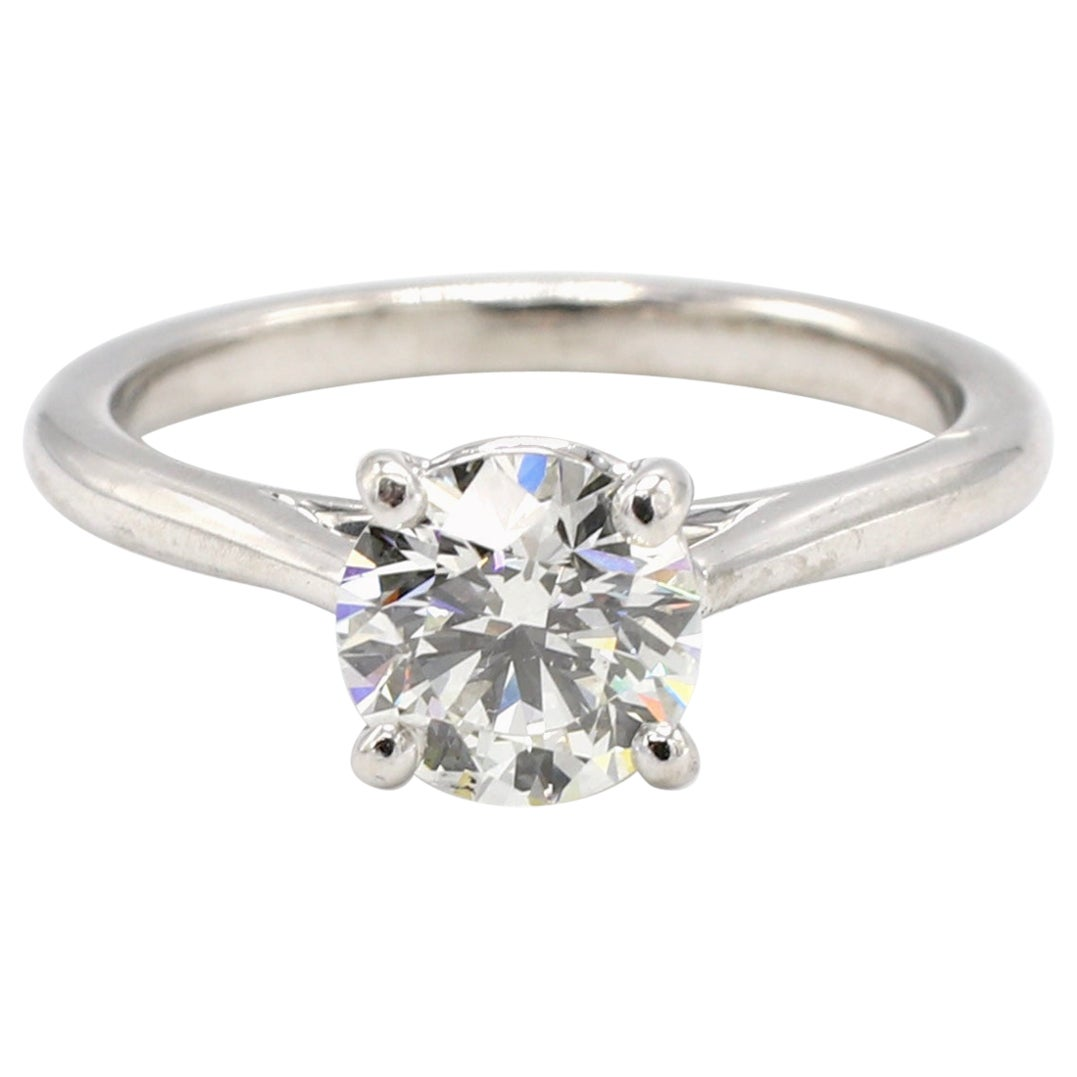 GIA Certified 1.00 Carat Round Brilliant Cut Diamond Solitaire Engagement Ring