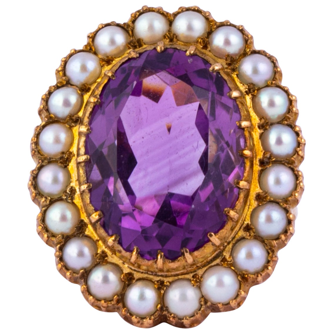 Art Deco Amethyst and Pearl 9 Carat Gold Cocktail Cluster Ring