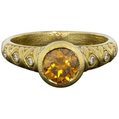 Alex Sepkus Yellow Gold 1.10 Carat Round Diamond Solitaire Ladies Fashion Ring