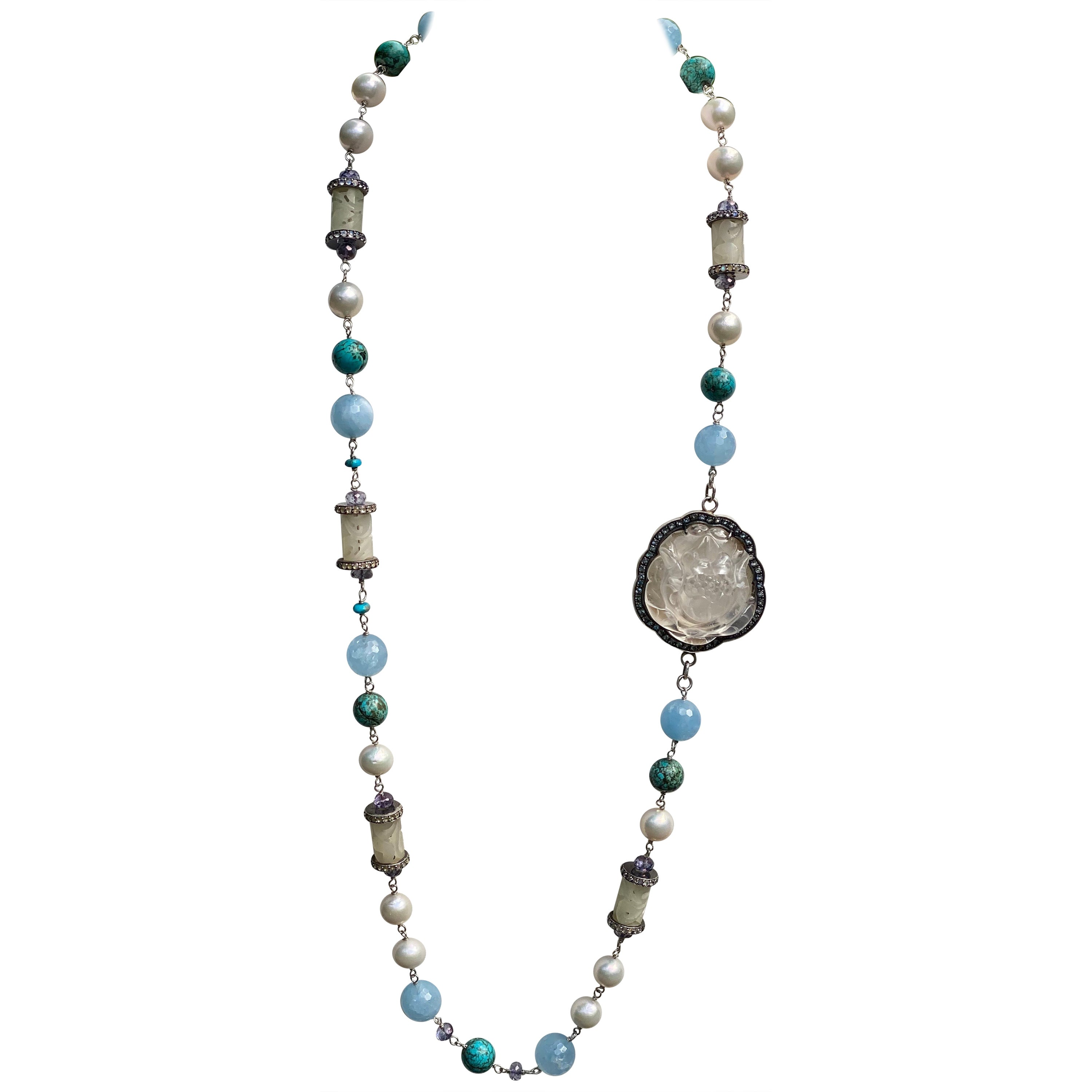 Lotus Queen Necklace with Carved Moonstone, Pearl, White Jade, Aqua, in Silver