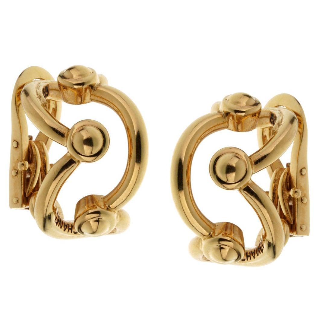 Chanel Vintage Yellow Gold Hoop Earrings