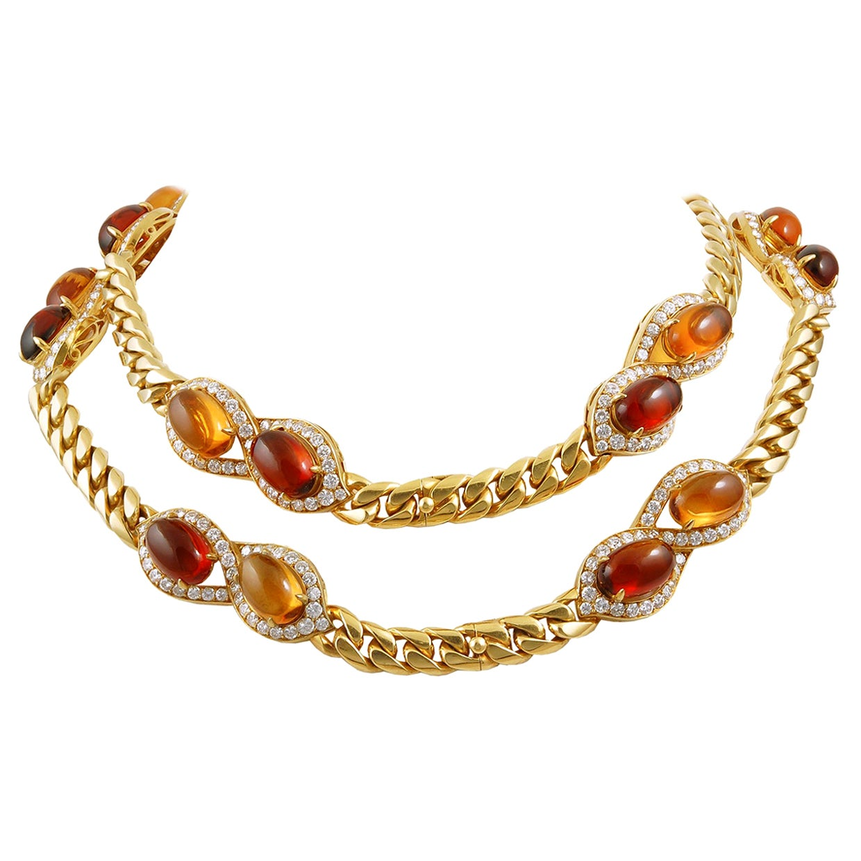 Bulgari Diamond Cabochon Citrine Yellow Gold Necklace