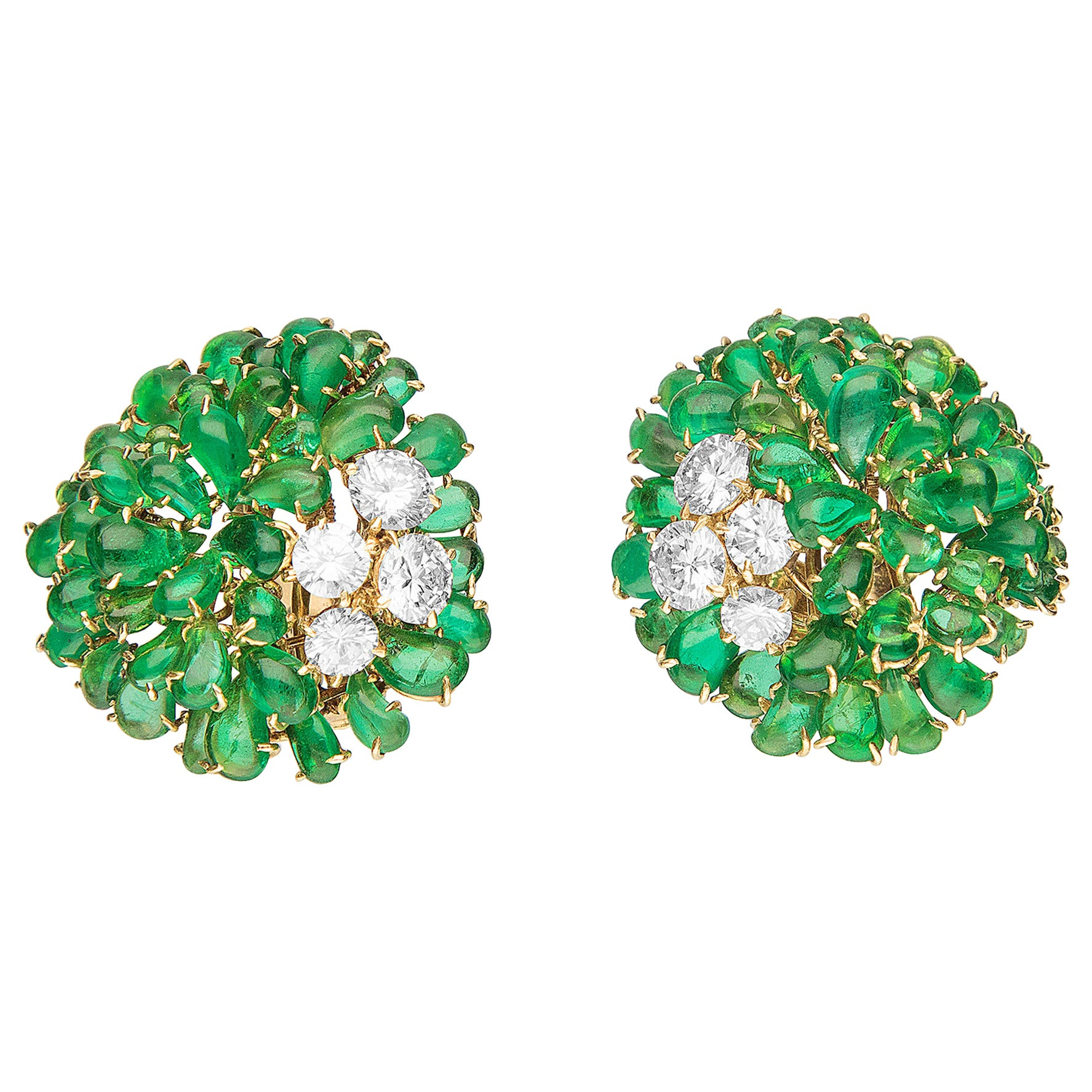 Van Cleef & Arpels 1960s Emerald and Diamond Earrings